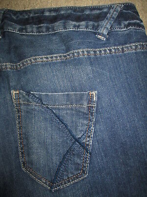 LANE BRYANT Blue Circle Boot Cut Stretch Dark Blue Denim Jeans Women Size 16 Avg