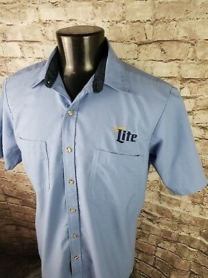 Miller Lite Embroidered Beer Delivery Drivers Button Shirt Large Tall LT