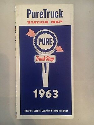 1963 PureTruck Station Map, Featuring Station Locations & Icing Facilities