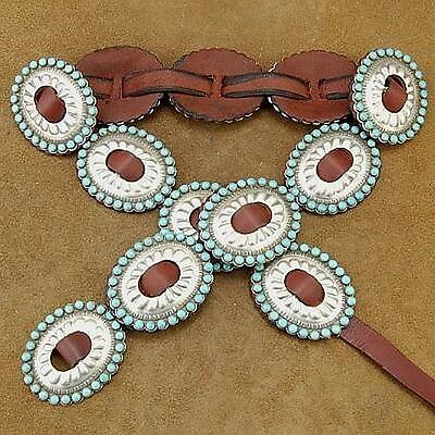 Navajo Sleeping Beauty Turquoise First Phase Style CONCHO BELT by Joey McCray