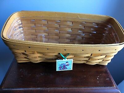 Longaberger Envelope Basket Combo 2000 with protector and reversible tie-on