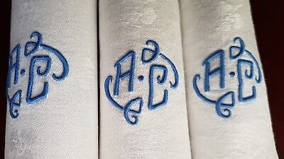 STUNNING Antique French Pure Linen TABLECLOTH + 12 napkins hand monogrammed AC