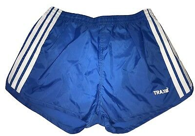 Vtg 80s Blue TRAX Mens Shiny WET LOOK NYLON Sprinter Track Running Shorts Medium