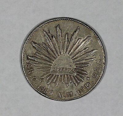 1889 Cn AM Mexico Silver 8 Reales Libertad Cap and Rays