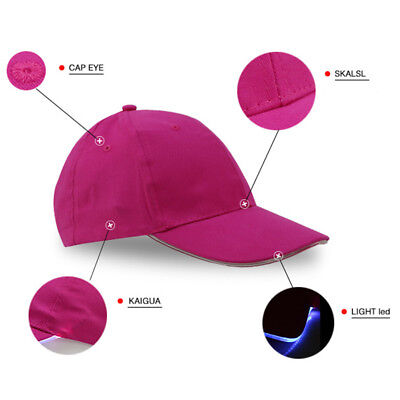 bfd44b74c8fb4 Adjustable LED Lighted Up Hat Glow Club Party Baseball Hip-Hop Golf Dance  Cap DW