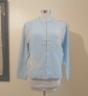 60s DRAGON SHOP BABY BLUE LAMBSWOOL ANGORA BLEND WHITE BEADED CARDIGAN SZ 40