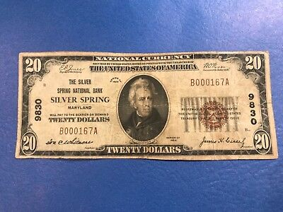 1929 $20 Twenty Dollar National Currency Banknote Silver Spring, MD Charter 9830
