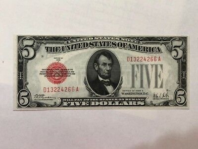 $5 DOLLARS 1928 A red seal  NOTE Choice UNC   BD12