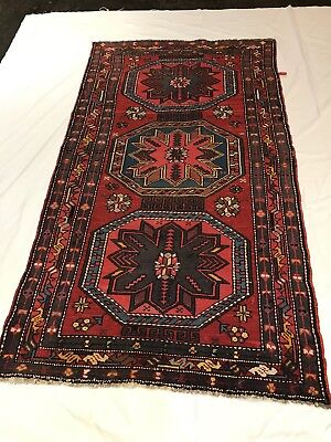 "Russian Caucasian Rug 3'5"" x 6'4"". Hand knotted. Semi Antique. Killim."