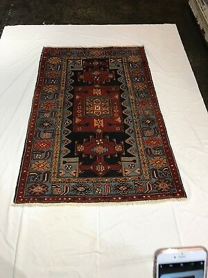 "Persian Herati Rug. 4'3"" x 6'5"". Hand knotted in Iran. Semi Antique"