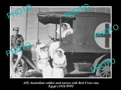 Old Large Historical Photo Of Wwi Anzac Red Cross Nurses & Soldier, Egypt 1916