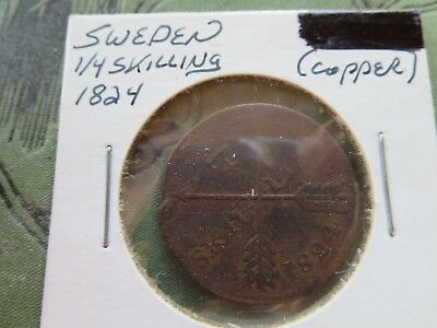 Sweden - Beautiful Scarce Carl Xiv Johan 1/4 Skilling, 1824