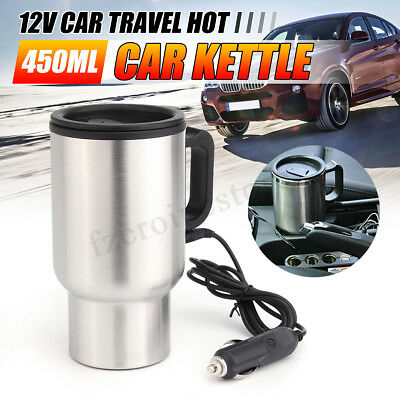 12V Stainless Car Van Kettle Cigarette Lighter Plug In Water Heater Boiler