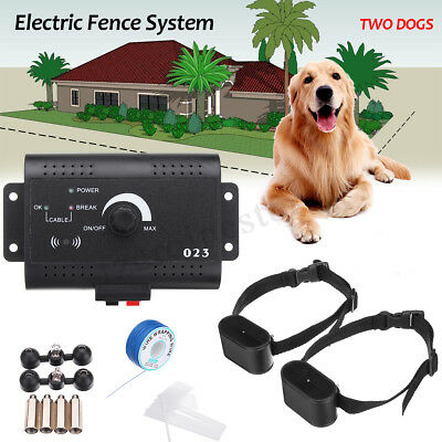 2X Pet Dog Collar Trainer System Electric Shock Fence Wall-mounted