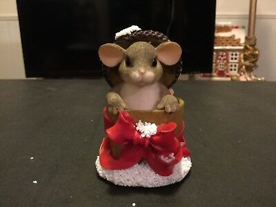 """Fitz and Floyd Holly Day Dreams Mouse Box by Charming Tails 93/501 3"""""""