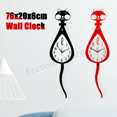 Wooden Glass Wall Clock Cat Swinging Wagging Tail Battery Operated Home Decor