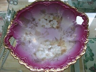 Antique German Porcelain Low Bowl Beautiful Flower Decorated 2 Handled