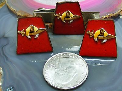 Vintage Set Shriner Mason Red Enamel CUFFLINKS TIE BAR Mystical Crescent Moon