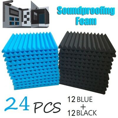 24 Pack Acoustic Panels Studio Soundproofing Egg Foam Wall Tiles 12'' X12''