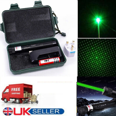 UK Green Pointer Laser Pen Boxed  Focus 532nm 1Mw + 18650 Battery Charger 5 in 1