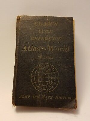 Cram's Atlas of the World 1912 Army Navy Edition Indexed Quick Reference