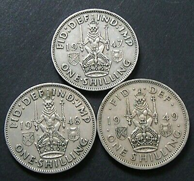 1947 1948 1949 Great Britain Scottish UK One Shilling Coins - George VI - 523