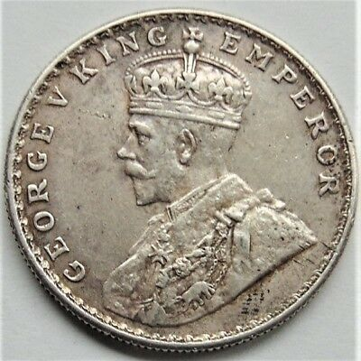 1918 (b) INDIA ONE RUPEE, GEORGE V, NATURAL TONING, GRADE NICE EXTRA FINE.