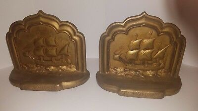 """Antique Cast Iron Brass Wash Sailboat """"MayFlower"""" Bookends Jennings Brothers JB"""