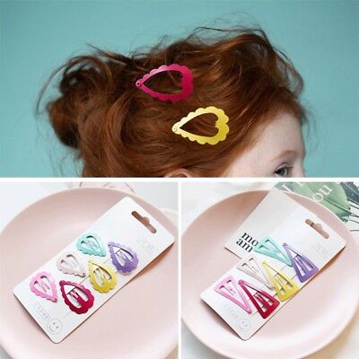 6 Pcs/Set Girl Baby Hair Clips Slides Snap Grips Bendy Hair Accessories Hot