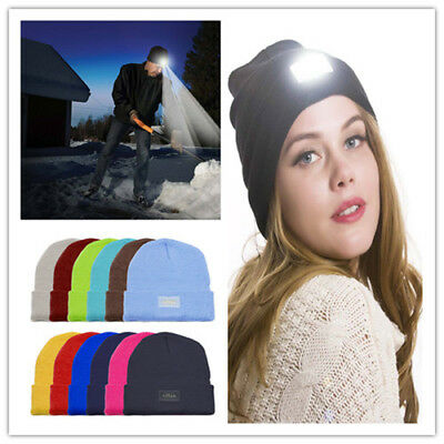 LED Beanie Hat With 5 LED Torch Light One Size Camping Cycling Outdoors Gifts UK