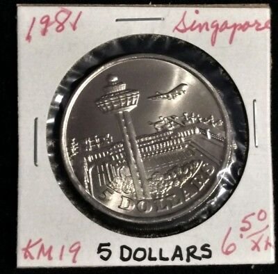 Singapore 5 Dollars 1981  Changi Airport  Uncirculated
