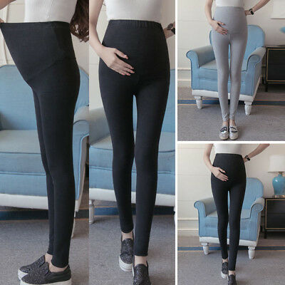 Ladies Maternity Pregnant Leggings Cotton Pants Stretchy Ankle Length Pregnancy
