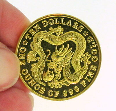 1 Oz 999 Fine GOLD $10 Dollar Dragon Coin 1984 SINGAPORE  Singapura 30.04mm