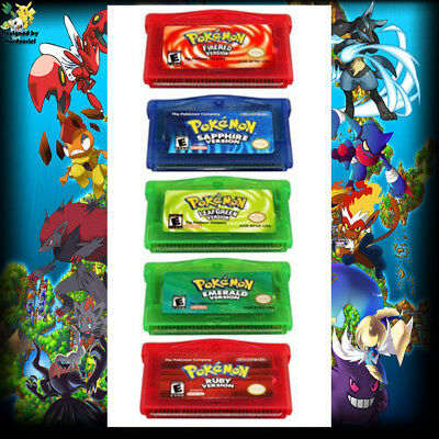 5 Pokemen Games Sapphire/Emerald/FireRed/LeafGreen/Ruby For GBA Gameboy Advance