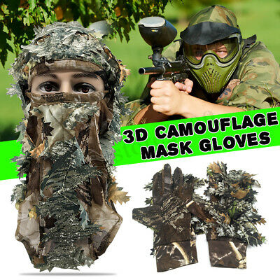 3D Ghillie Breathable Mask Face Camo Camouflage Leaves Woods Paintball
