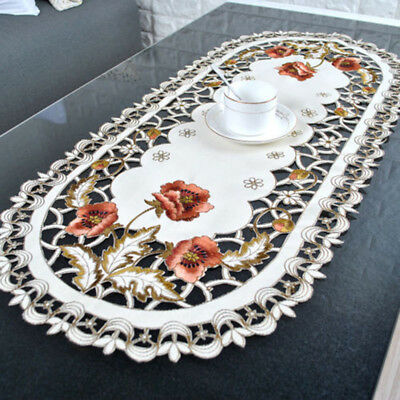 High Quality Satin Fabric Oval Tablecloths Table Runners Lace Embroidered