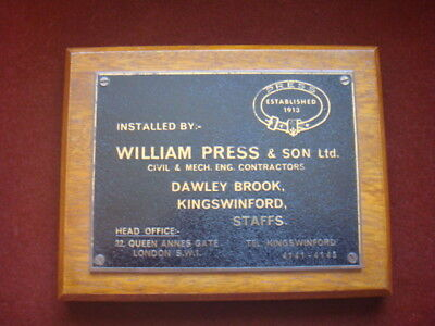OLD ADVERTISING NAME PLATE. WILLIAM PRESS Ltd