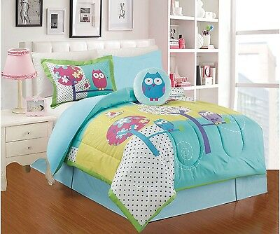New Owl Girls Pretty Collection Comforter Set 4 Pcs Twin
