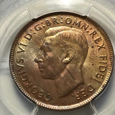 Australia 1951 (p) Half Penny With Dot 1/2D graded MS63RB by PCGS