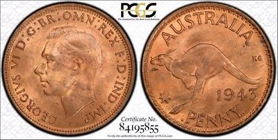 Australia 1943 - I (b) One Penny 1D graded MS64RD by PCGS
