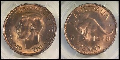 Australia 1948 (m) One Penny 1D graded MS64RD by PCGS - Benchmark collection