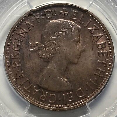 Australia 1956 (m) One Penny 1D graded MS63BN by PCGS