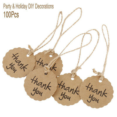 100PCS Kraft Paper Christmas Gift Tags Scallop Label Luggage Blank+Strings UK