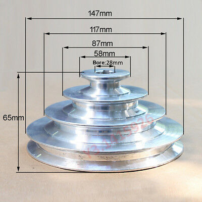 """OD147mm, 4 Step Pulley 28mm Bore for 1/2""""=12.7mm Belt width - Cast Aluminum"""