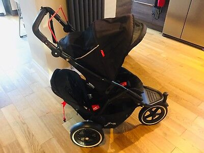 Phil & Teds Navigator Black-Model DK 2.0 Double Stroller with Accessories.