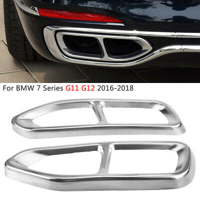Stainless Steel Exhaust Muffler Pipe Tips Cover Trim for BMW 7er G11 G12 2016-18