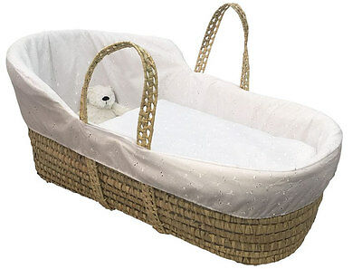 Brand new Clair de lune broderie anglaise high top palm moses basket in white