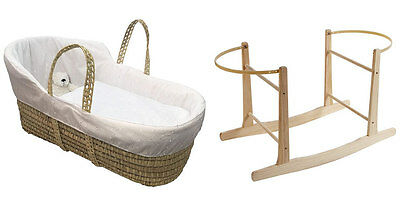 New Clair de lune white broderie anglaise high top palm moses basket & stand
