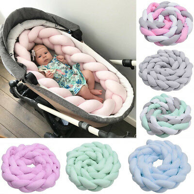 Baby Infant Plush Crib Bumper Bed Bedding Cot Braid Pillow Pad Protector Kids