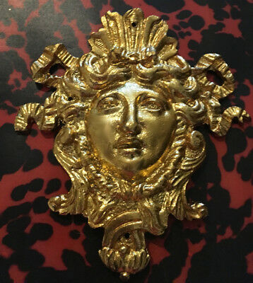 19th c Antique French Bronze Ormolu Crowned Goddess Face Mask Furniture Pediment